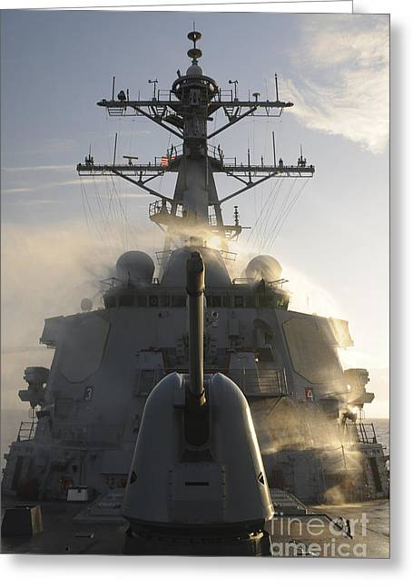 Guided Missiles Greeting Cards - Uss Mitscher Conducts A Test Greeting Card by Stocktrek Images