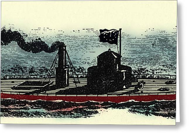 Enhanced Greeting Cards - Uss Monitor Greeting Card by Photo Researchers