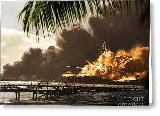 Wells Harbor Greeting Cards - U S S Shaw Pearl Harbor December 7 1941 Greeting Card by Photo Researchers