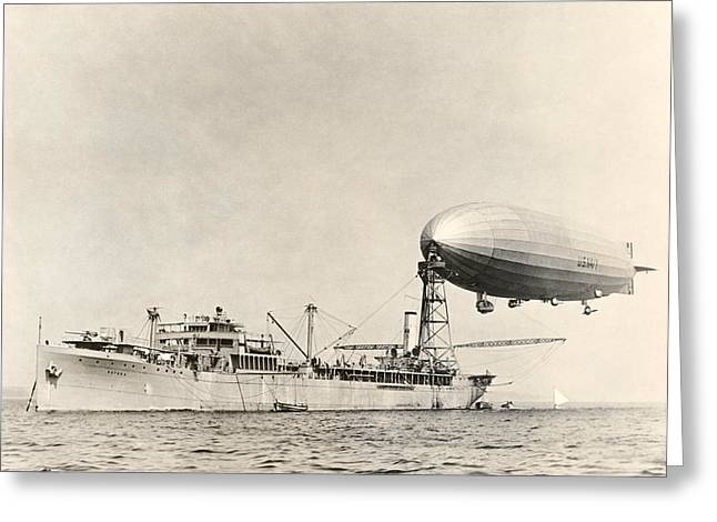 -wars And Warfare- Greeting Cards - Uss Shenandoah Airship And Tender Greeting Card by Miriam And Ira D. Wallach Division Of Art, Prints And Photographsnew York Public Library