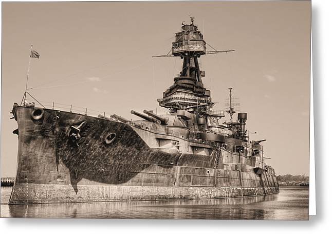 Dreadnought Greeting Cards - USS Texas BW Greeting Card by JC Findley