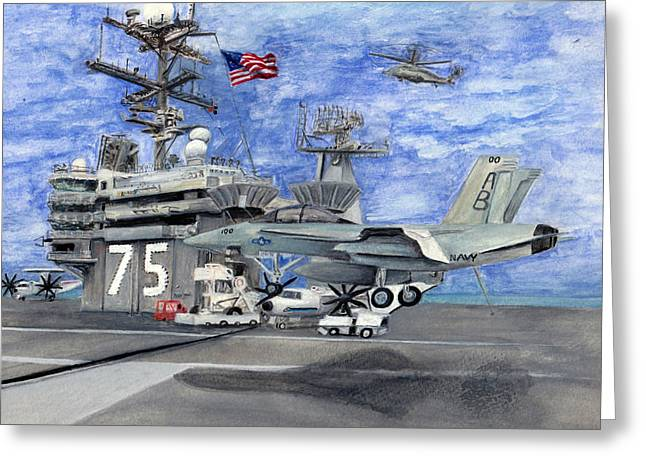 F-18 Drawings Greeting Cards - Uss Truman Greeting Card by Sarah Howland-Ludwig