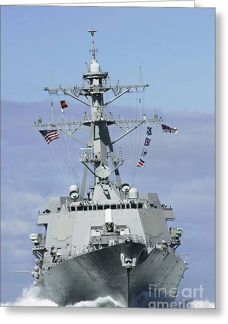 Moving Colors Greeting Cards - Uss Winston S. Churchill Makes Greeting Card by Stocktrek Images