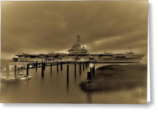 Uss Pyrography Greeting Cards - USS Yorktown  Greeting Card by Gib LaStrapes