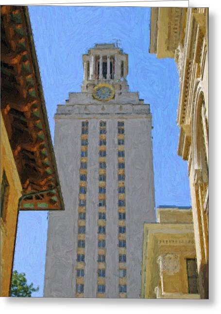 Stockyards Greeting Cards - UT University of Texas Tower Austin Texas Greeting Card by Jeff Steed
