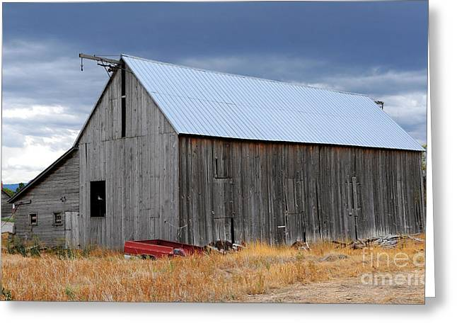Thunderstorm Greeting Cards - Utah Barn in a Thunderstorm Greeting Card by Gary Whitton