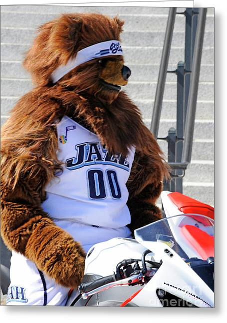 Utah Jazz Greeting Cards - Utah Jazz Bear Greeting Card by Dennis Hammer