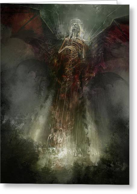 Angel Greeting Cards - Utherworlds The Clouding Greeting Card by Philip Straub