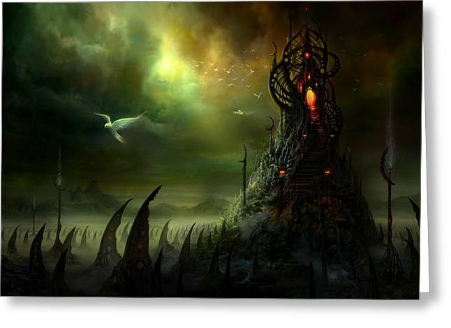 Gothic Art Greeting Cards - Utherworlds Where Fears Roam Greeting Card by Philip Straub