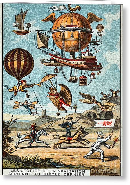 Baloon Greeting Cards - Utopian flying machines of the 19th century Greeting Card by Pg Reproductions