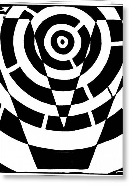 Mazes Mixed Media Greeting Cards - V Maze Greeting Card by Yonatan Frimer Maze Artist