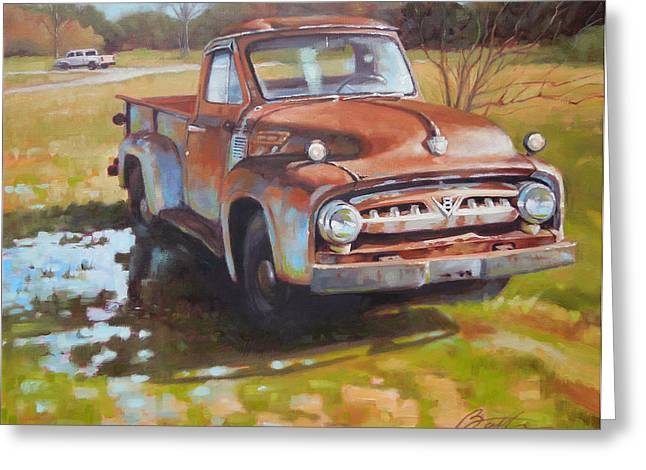 Old Trucks Greeting Cards - V8 Greeting Card by Todd Baxter