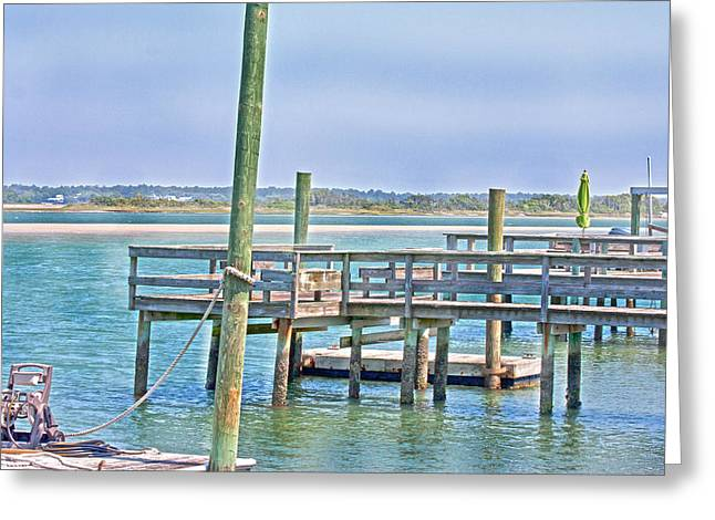Topsail Island Greeting Cards - Vacant Harbor Greeting Card by Betsy C  Knapp