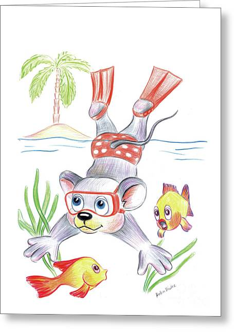 Snorkel Drawings Greeting Cards - Vacation Greeting Card by Helen Winter
