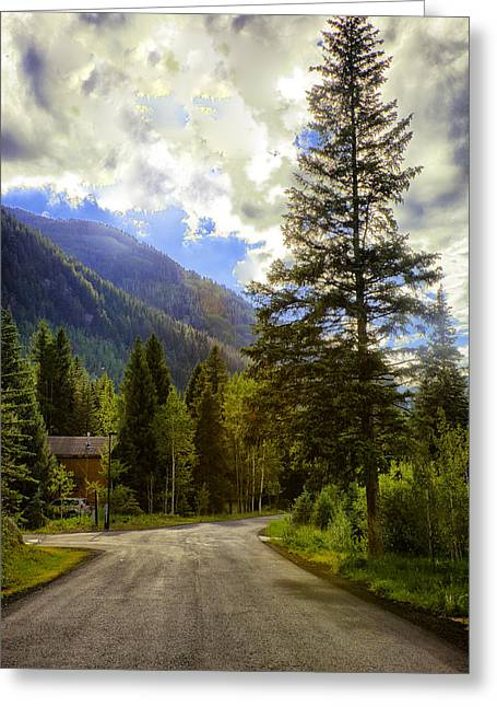 Mountain Road Greeting Cards - Vail Country Road 1 Greeting Card by Madeline Ellis