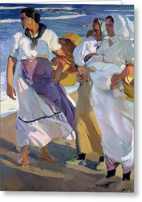 Headscarf Greeting Cards - Valencian Fisherwomen Greeting Card by Joaquin Sorolla y Bastida