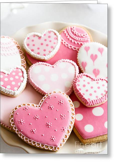 Frosting Greeting Cards - Valentine cookies Greeting Card by Ruth Black