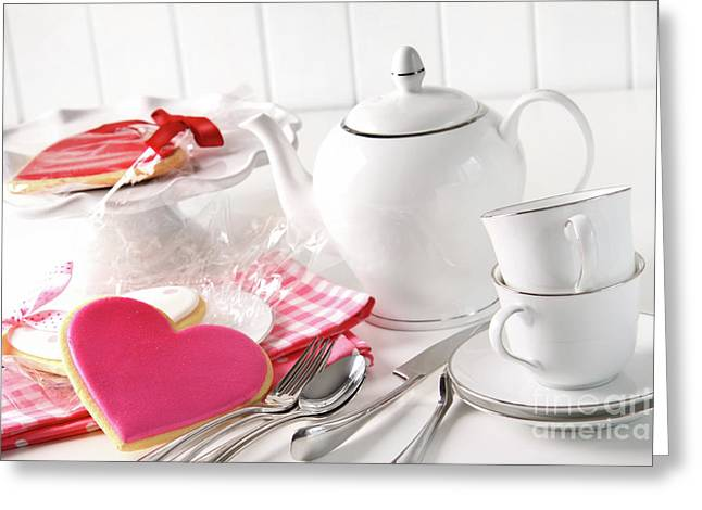 Valentine cookies with teapot and cups Greeting Card by Sandra Cunningham