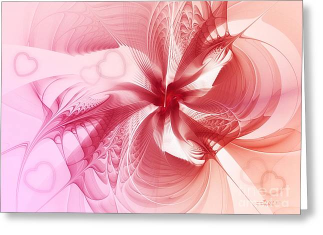 Repetition Greeting Cards - Valentine Flower Greeting Card by Jutta Maria Pusl