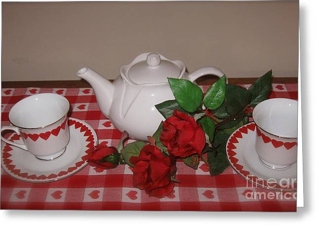 Tea For Two Greeting Cards - Valentine Tea for Two  Greeting Card by Nancy Patterson
