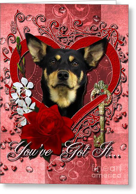 Animals Love Greeting Cards - Valentines - Key to My Heart Australian Kelpie Greeting Card by Renae Laughner