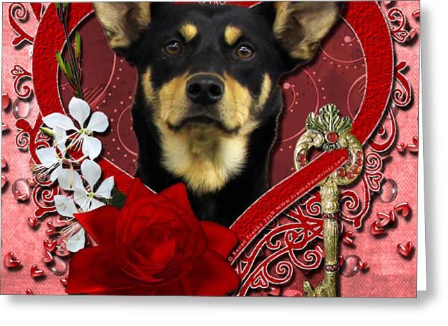 Valentines - Key to My Heart Australian Kelpie Greeting Card by Renae Laughner