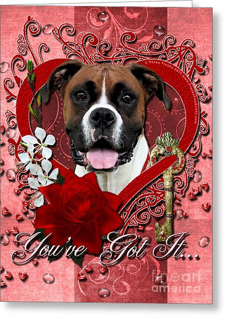 Boxer Greeting Cards - Valentines - Key to My Heart Boxer Greeting Card by Renae Laughner