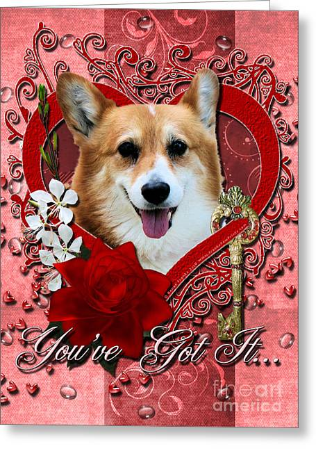 Valentines - Key To My Heart Corgi Greeting Card by Renae Laughner
