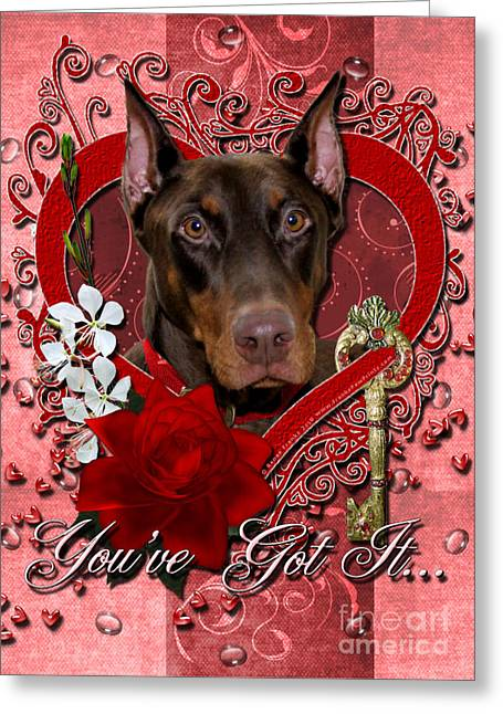 Doby Greeting Cards - Valentines - Key to My Heart Doberman Greeting Card by Renae Laughner