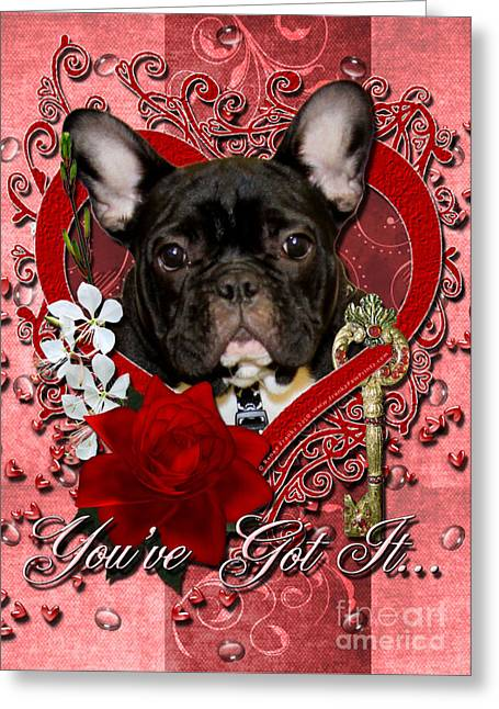 Canine Greeting Cards - Valentines - Key to My Heart French Bulldog Greeting Card by Renae Laughner