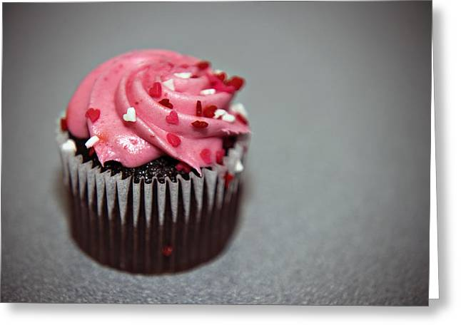 Valentines Cupcake Greeting Card by Malania Hammer