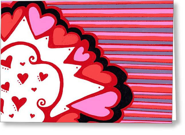 Swirls And Stripes Greeting Cards - Valentines Day Heart abstract Greeting Card by Mandy Shupp
