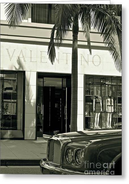Apparel Greeting Cards - Valentino on Rodeo Drive Greeting Card by Gwyn Newcombe