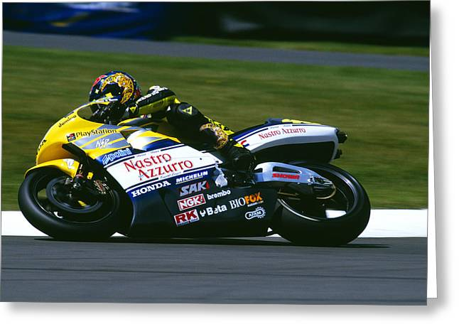 Donnington Park Greeting Cards - Valentino Rossi Greeting Card by Don Hooper