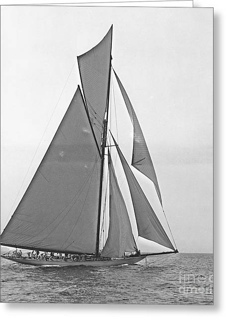 Sailboat Photos Greeting Cards - Valkyrie III at 2nd Mark of 2nd Americas Cup Race 1895 Greeting Card by Padre Art