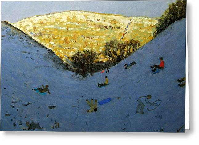 Toboggan Greeting Cards - Valley and sunlit hillside Greeting Card by Andrew Macara