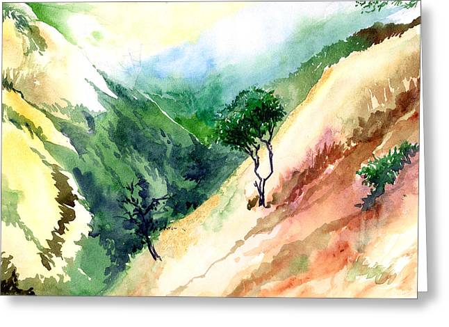 Anil Nene Greeting Cards - Valley Greeting Card by Anil Nene