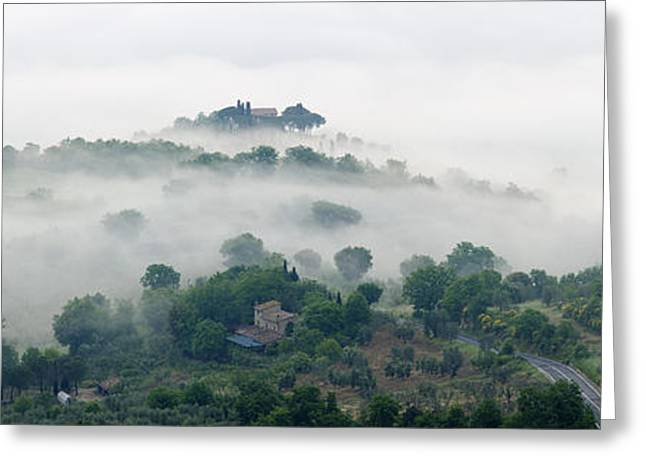 Vale Greeting Cards - Valley Fog in the Val DOrcia at Dawn Greeting Card by Jeremy Woodhouse