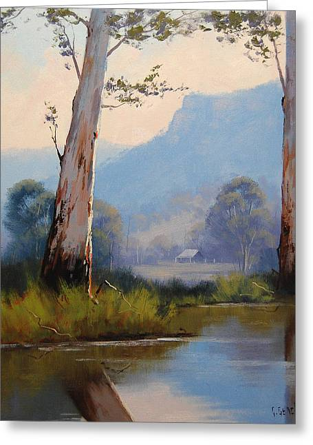 River Paintings Greeting Cards - Valley Gums Greeting Card by Graham Gercken