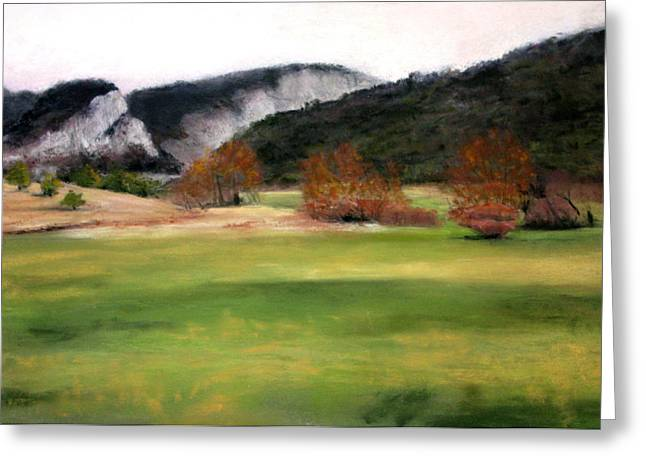 Cindy Plutnicki Greeting Cards - Valley Landscape Early Fall Greeting Card by Cindy Plutnicki