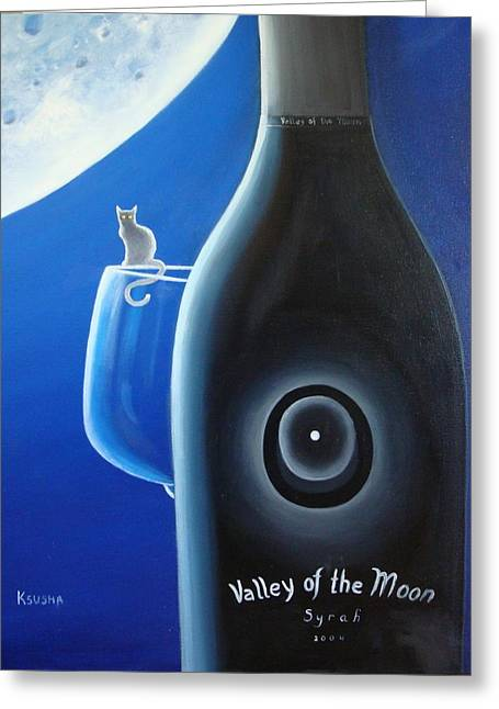 Glass Bottle Greeting Cards - Valley of The Moon Greeting Card by Ksusha Scott