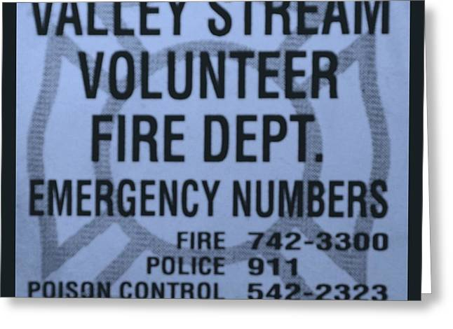 Valley Stream Fire Department In Cyan Greeting Card by Rob Hans