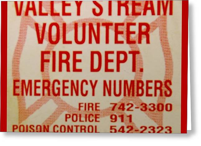 VALLEY STREAM FIRE DEPARTMENT Greeting Card by ROB HANS