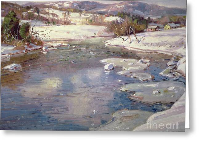 Valley Stream in Winter Greeting Card by George Gardner Symons
