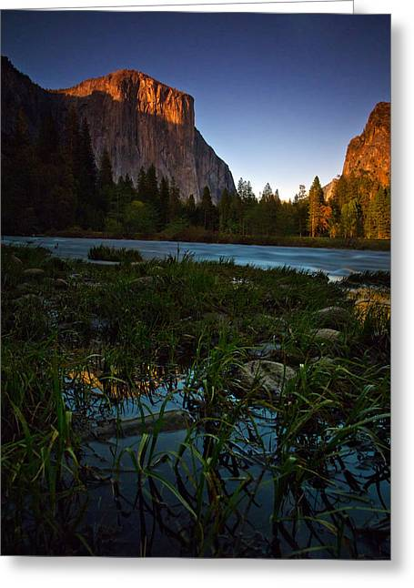 Merced River Greeting Cards - Valley View At Sunset Greeting Card by Rick Berk