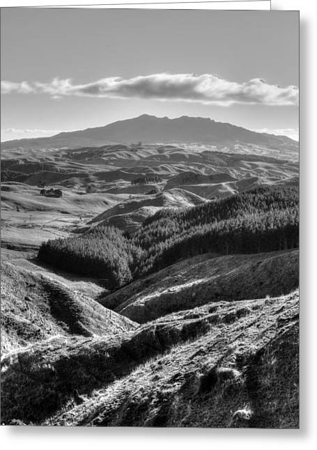 Grey Clouds Greeting Cards - Valley view Greeting Card by Les Cunliffe