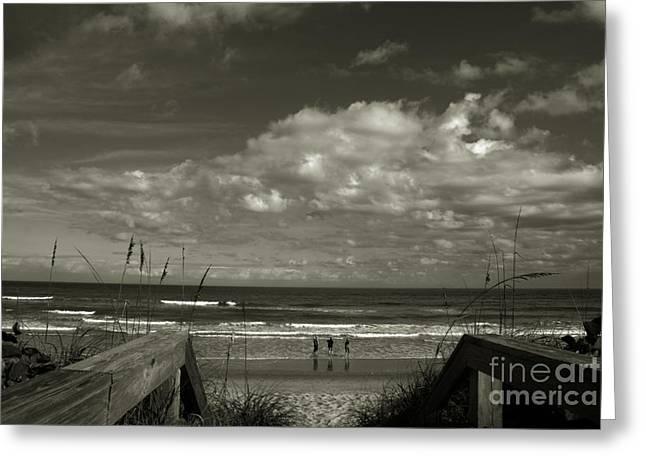 Sea Oats Greeting Cards - Vamos a La Playa Greeting Card by Susanne Van Hulst