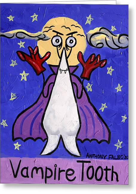 Fine Mixed Media Greeting Cards - Vampire Tooth Greeting Card by Anthony Falbo
