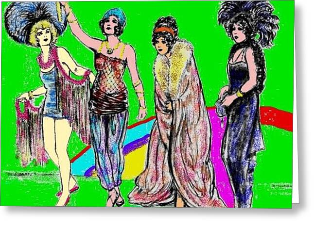 Harem Drawings Greeting Cards - Vamps in Color Greeting Card by Mel Thompson