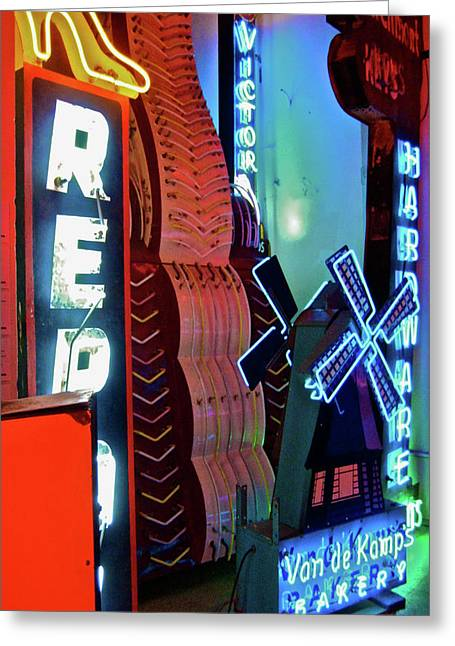 Neon Greeting Cards - Van De Kamps Neon Photograph Greeting Card by Uli Gonzalez